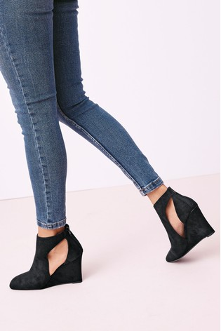 Square Toe Wedge Boots from Next Singapore