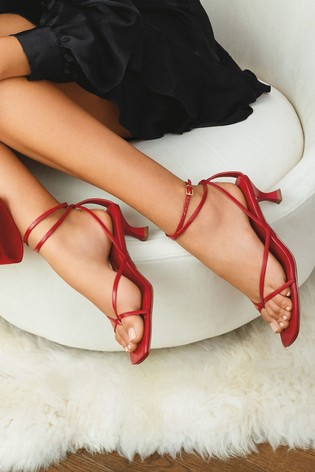 Red Toe Post Ankle Wrap Sandals