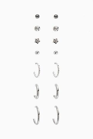 Silver Tone Stud And Hoop Multi Earring Pack