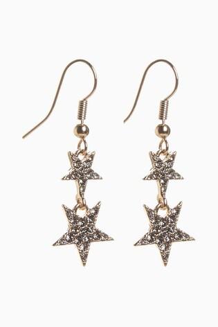 Gold Tone/Grey Pavé Star Drop Earrings
