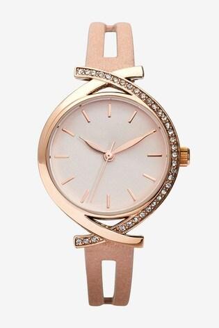 Rose Gold Tone Split Strap Watch