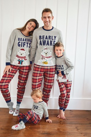 Red Matching Family Mens Christmas Bear Pyjamas