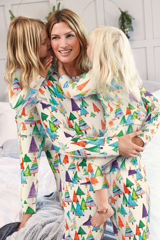 Multi Matching Mother & Me Womens Christmas Trees Pyjamas