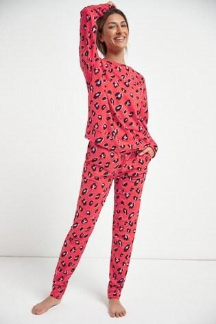 Red Matching Mother & Me Womens Animal Print Pyjamas