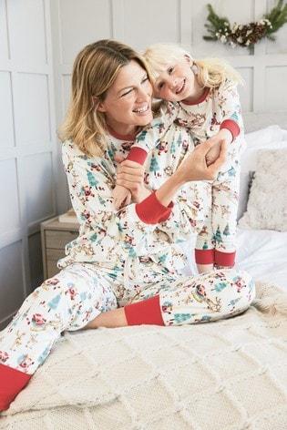 Ecru Matching Mother & Me Womens Christmas Scene Pyjamas