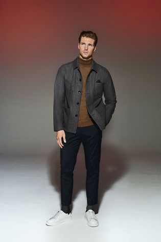 Charcoal Wool Blend Worker Jacket