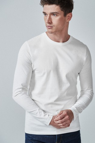 White Slim Fit Long Sleeve Crew Neck T-Shirt
