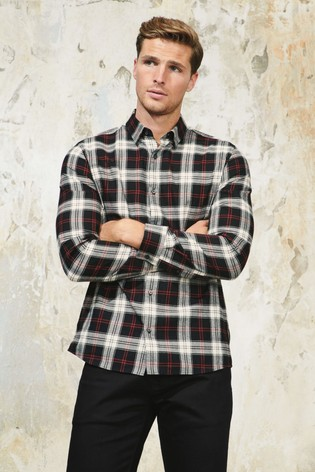 White Slim Fit Check Brushed Long Sleeve Shirt