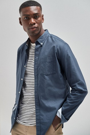 Dark Blue Regular Fit Long Sleeve Oxford Shirt