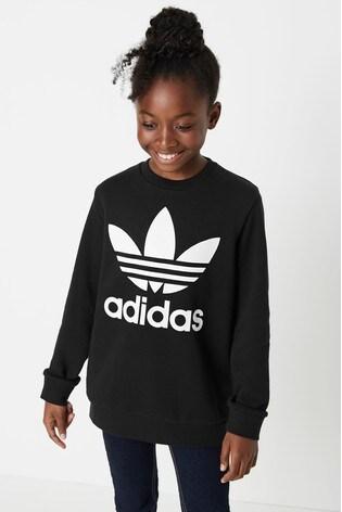 adidas Originals Black Trefoil Crew Top