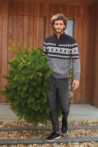 Charcoal Pattern Button Neck Men's Christmas Jumper