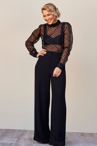 Black Emma Willis Wide Leg Trousers