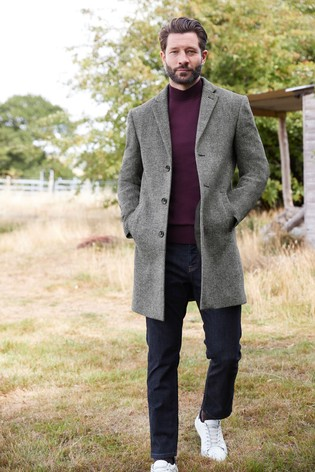 Light Grey Herringbone Epsom Coat