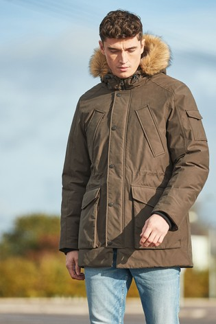 Khaki Shower Resistant Parka With Removable Faux Fur Trim