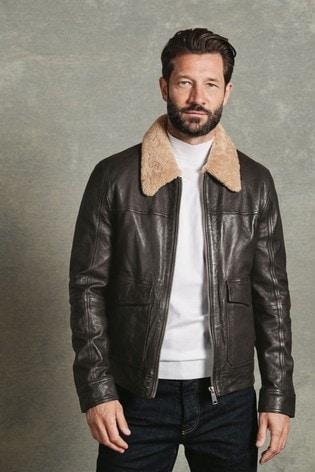 Brown Signature Leather Flight Jacket