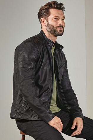 Black Signature Leather Racer Jacket
