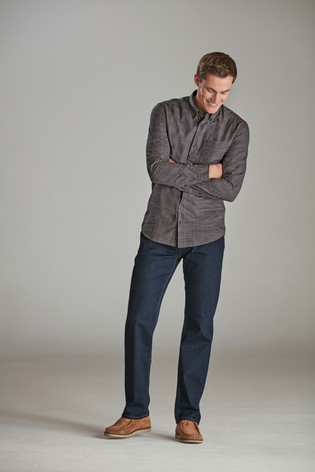 Navy Slim Fit Check Brushed Long Sleeve Shirt