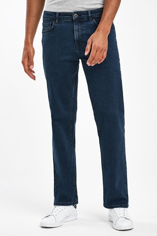 Deep Blue Loose Fit Jeans With Stretch