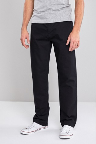 Solid Black Loose Fit Jeans With Stretch