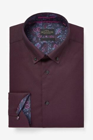 Burgundy Slim Fit Single Cuff Signature Trimmed Shirt
