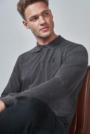 Dark Grey Long Sleeve Pique Polo