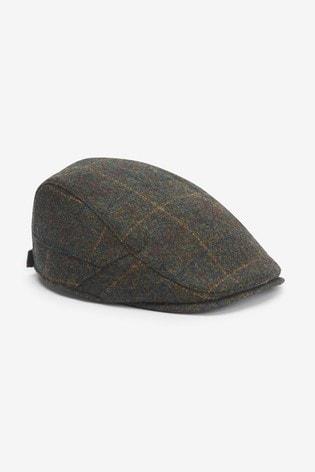 Green Check Flat Cap