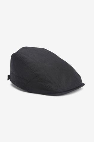 Black Wax Flat Cap