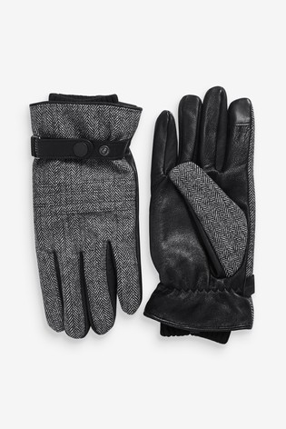 Charcoal Fabric Mix Leather Gloves