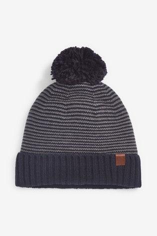 Navy Stripe Bobble Hat