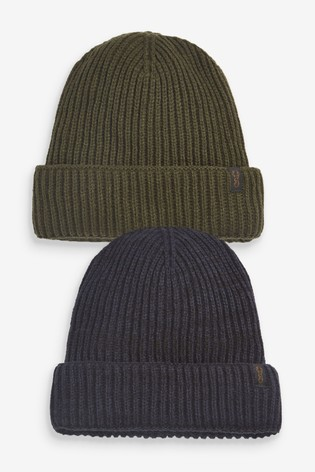 Navy/Khaki Beanie Hats Two Pack