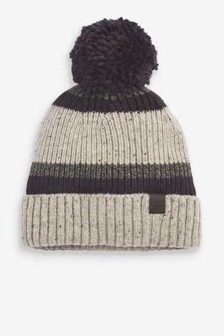 Grey Blocked Bobble Hat