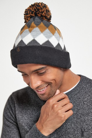 Black/Gold Bobble Hat