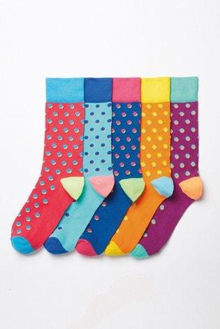 Bright Shadow Spot Socks Five Pack
