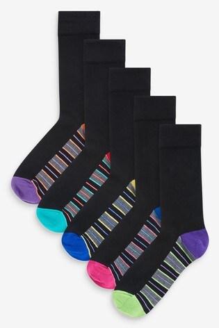 Fluro Stripe Footbed Socks 5 Pack