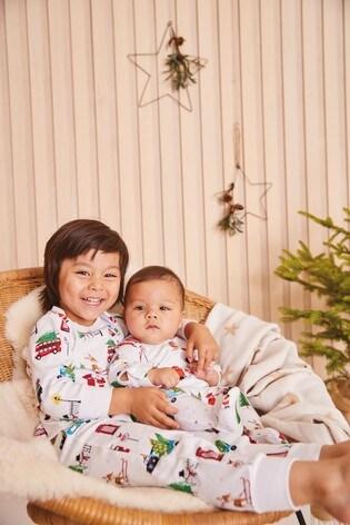 White Christmas Character Pyjama Sleepsuit (0mths-3yrs)