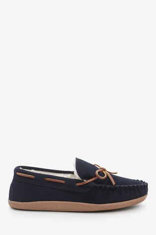 Navy Signature Suede Lace Moccasin Slippers