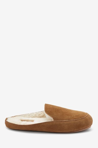 Tan Signature Suede Mule Slippers