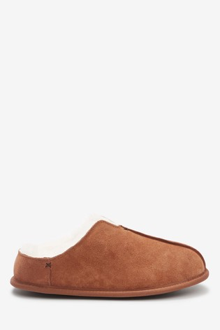 Tan Signature Suede Closed Back Slippers