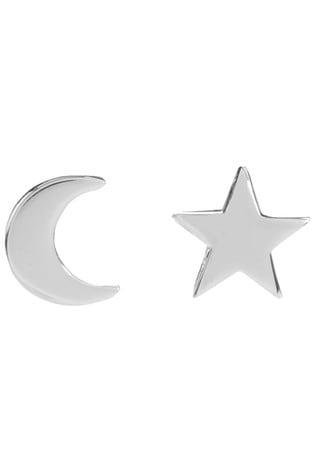 Mint Velvet Silver Tone Star & Moon Earrings