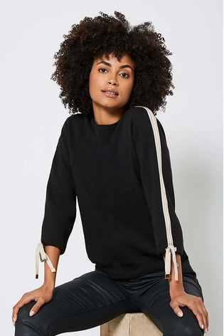 Mint Velvet Black Tie Sleeve Sweatshirt
