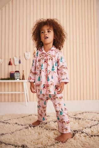 Pink Christmas Scene Woven Button Through Pyjamas (9mths-8yrs)