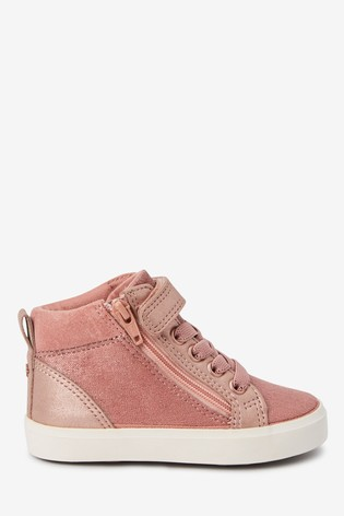 Pink Elastic Lace High Top Boots (Younger)