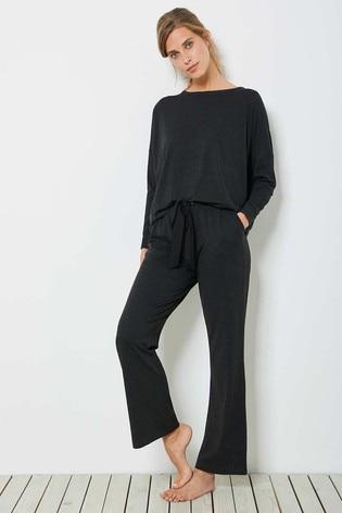 Mint Velvet Dark Grey Jersey Wide Trousers