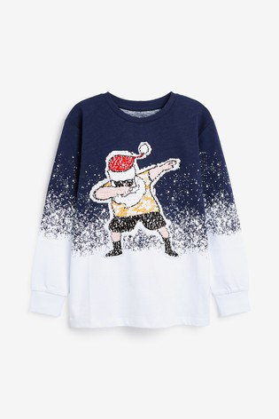 Blue Santa Flippy Sequin T-Shirt (3-16yrs)