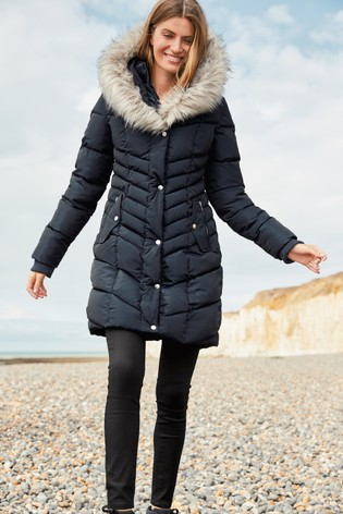 Navy Faux Fur Padded Jacket