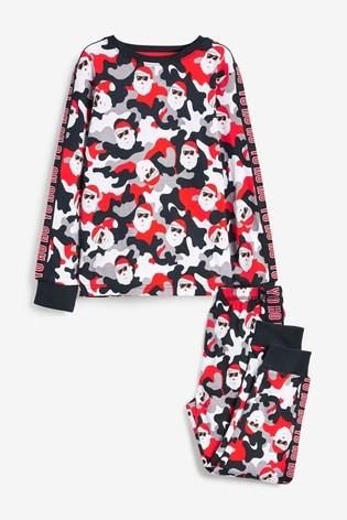 Red/Black Santa Camo Christmas Pyjamas (1.5-16yrs)