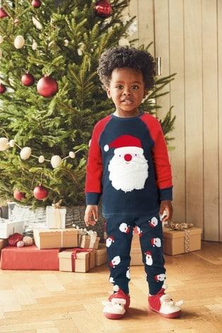 Navy Santa Christmas Snuggle Pyjamas (9mths-12yrs)