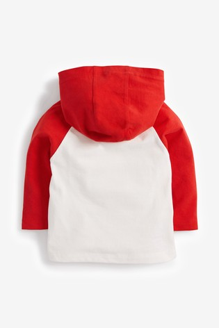 Red/White Long Sleeve Santa Hoody Jersey T-Shirt (3mths-7yrs)