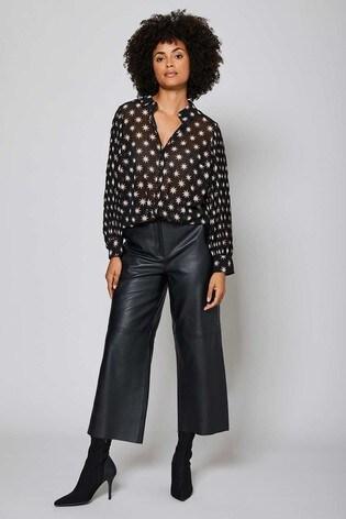 Mint Velvet Black Leather Culotte Trousers