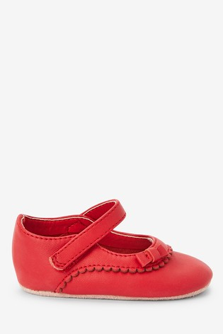 Buy Red Leather Mary Jane Pram Shoes (0